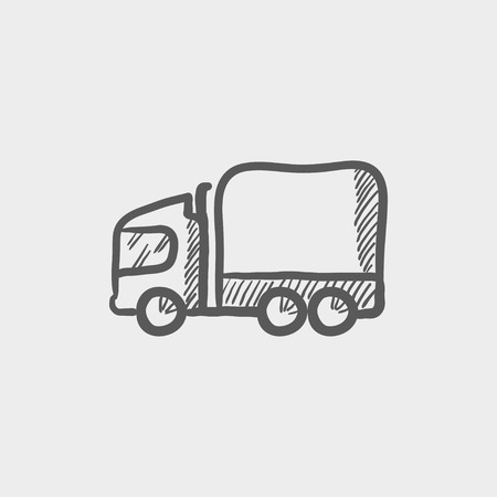 Delivery truck sketch icon for web and mobile. Hand drawn vector dark grey icon on light grey background. Ilustração