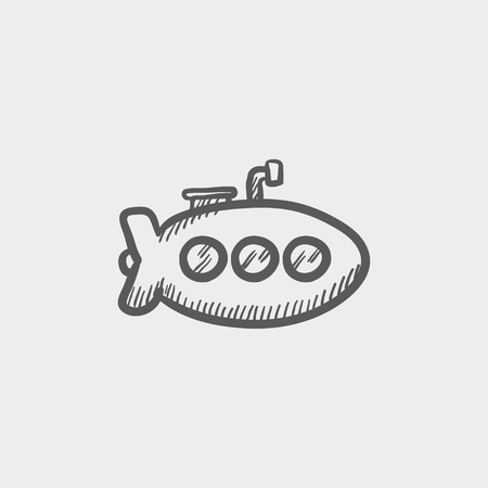 sub: Submarine sketch icon for web and mobile. Hand drawn vector dark grey icon on light grey background. Illustration