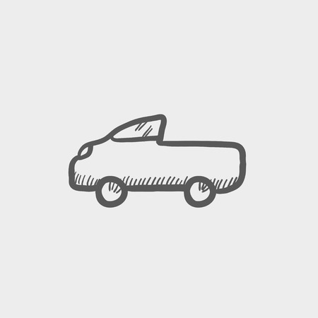 Pick up truck sketch icon for web and mobile. Hand drawn vector dark grey icon on light grey background.