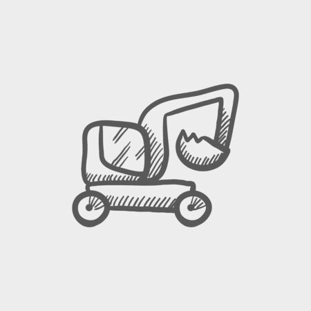 sand quarry: Excavator truck sketch icon for web and mobile. Hand drawn vector dark grey icon on light grey background.