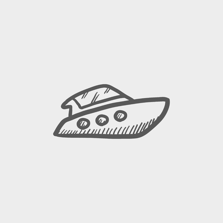 Speedboat sketch icon for web and mobile. Hand drawn vector dark grey icon on light grey background.