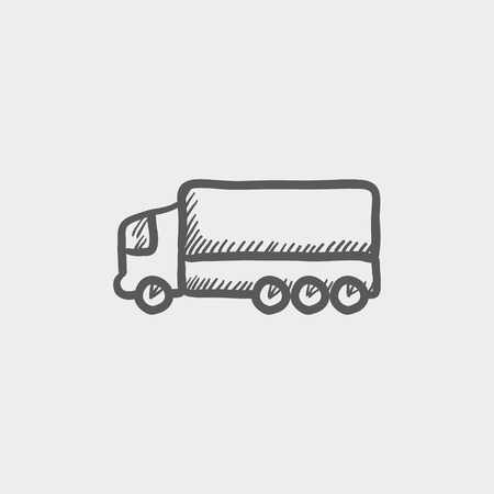 crisper: Trailer truck sketch icon for web and mobile. Hand drawn vector dark grey icon on light grey background.