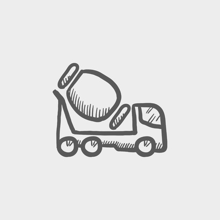 scrambler: Concrete mixer truck sketch icon for web and mobile. Hand drawn vector dark grey icon on light grey background. Illustration