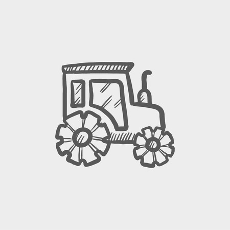 offroad car: Offroad car sketch icon for web and mobile. Hand drawn vector dark grey icon on light grey background. Illustration