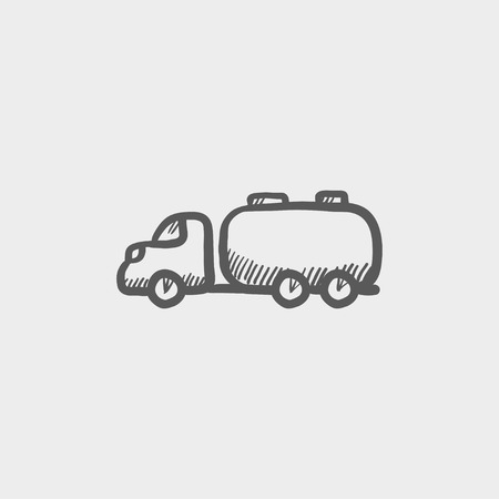 hand truck: Truck liquid cargo sketch icon for web and mobile. Hand drawn vector dark grey icon on light grey background.