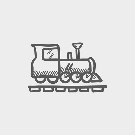 Railroad train sketch icon for web and mobile. Hand drawn vector dark grey icon on light grey background.