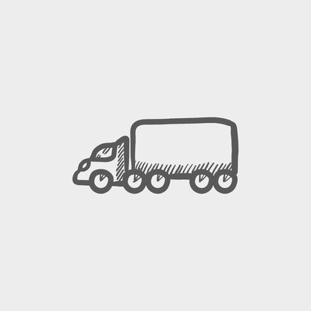 Cargo truck sketch icon for web and mobile. Hand drawn vector dark grey icon on light grey background.