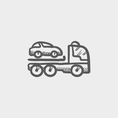 haul: Car towing truck  sketch icon for web and mobile. Hand drawn vector dark grey icon on light grey background.