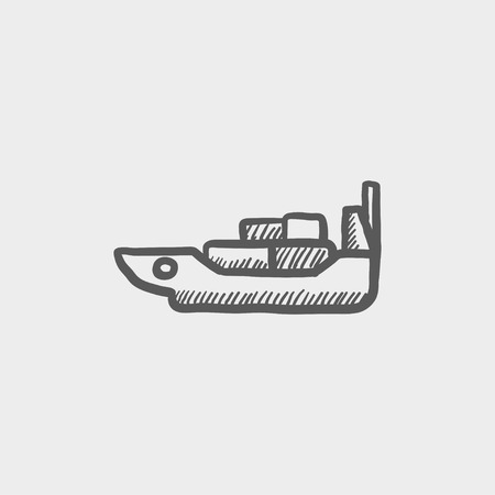 Cargo ship with container sketch icon for web and mobile. Hand drawn vector dark grey icon on light grey background.