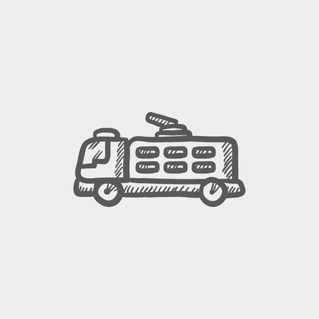 firetruck: Fire truck sketch icon for web and mobile. Hand drawn vector dark grey icon on light grey background.