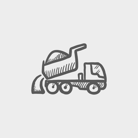 haul: Dump truck sketch icon for web and mobile. Hand drawn vector dark grey icon on light grey background.