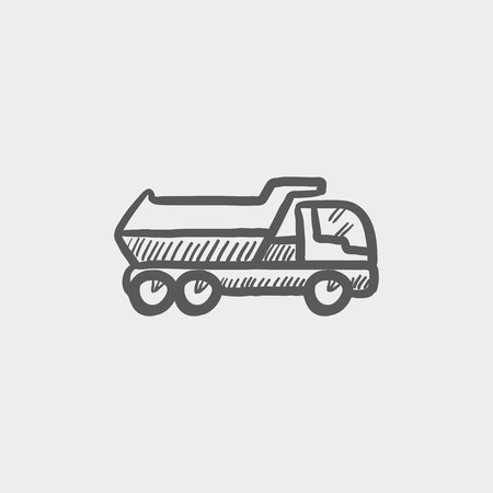 hand truck: Trailer truck sketch icon for web and mobile. Hand drawn vector dark grey icon on light grey background.