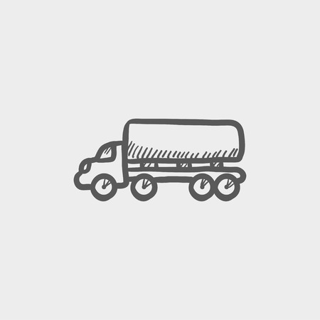 hand truck: Delivery truck sketch icon for web and mobile. Hand drawn vector dark grey icon on light grey background. Illustration