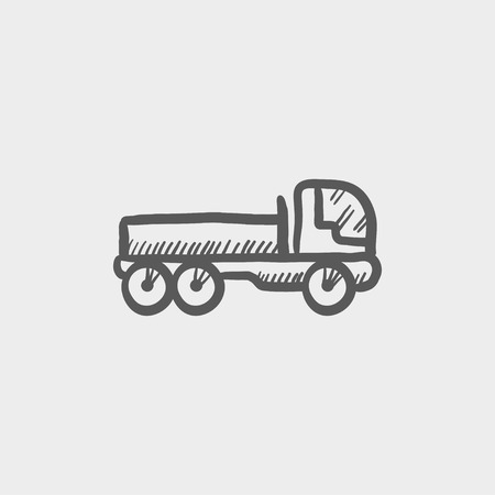 hand truck: Cargo truck sketch icon for web and mobile. Hand drawn vector dark grey icon on light grey background.