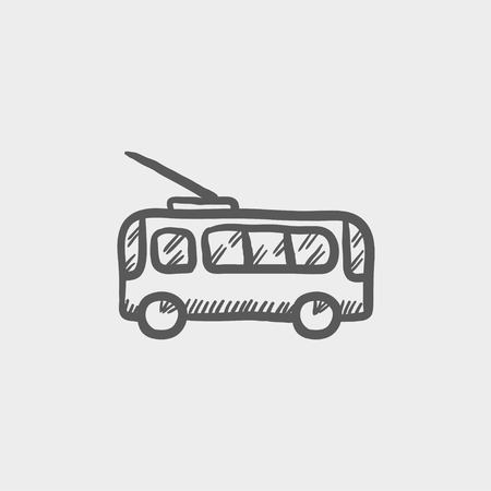 rearview: Bus sketch icon for web and mobile. Hand drawn vector dark grey icon on light grey background.