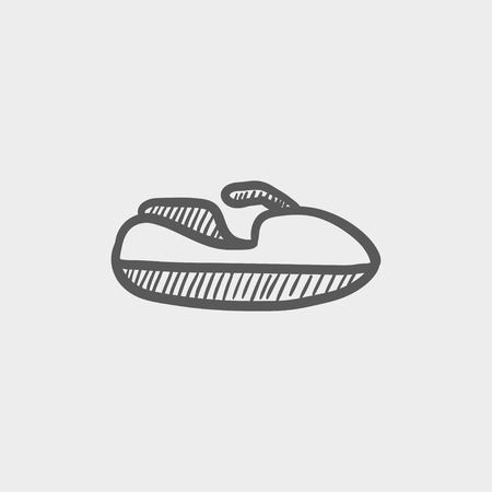 outboard: Speedboat sketch icon for web and mobile. Hand drawn vector dark grey icon on light grey background.
