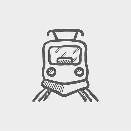 鉄道スケッチ アイコン web とモバイルのフロント ビュー。手は、ライトグレーの背景でベクトル暗い灰色のアイコンを描画します。