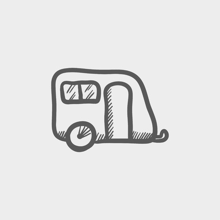 brougham: Pulling cab sketch icon for web and mobile. Hand drawn vector dark grey icon on light grey background.