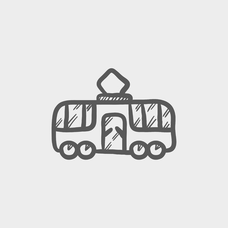 tourist bus: Tourist bus sketch icon for web and mobile. Hand drawn vector dark grey icon on light grey background.