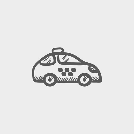 interceptor: Police car sketch icon for web and mobile. Hand drawn vector dark grey icon on light grey background.