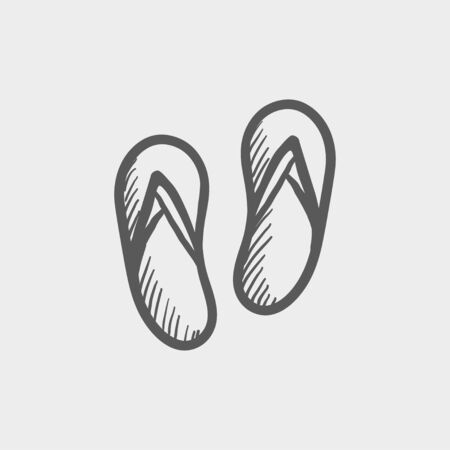 slipper: Beach slipper sketch icon for web and mobile. Hand drawn vector dark grey icon on light grey background.