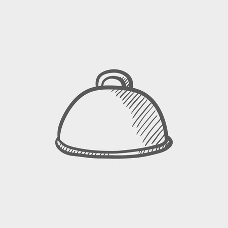 Food cover sketch icon for web and mobile. Hand drawn vector dark grey icon on light grey background. 向量圖像