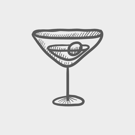 fruitage: Cocktail drink with cherry sketch icon for web and mobile. Hand drawn vector dark grey icon on light grey background.