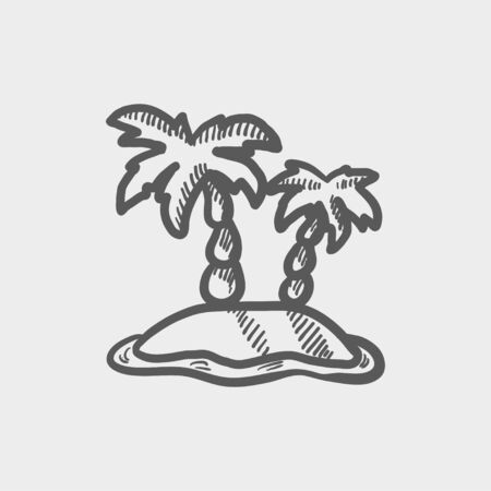 carribean: Two plam trees sketch icon for web and mobile. Hand drawn vector dark grey icon on light grey background.
