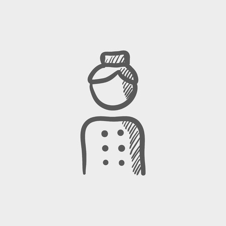 bellboy: Bellboy sketch icon for web and mobile. Hand drawn vector dark grey icon on light grey background.