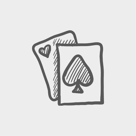 decrepit: Playing card sketch icon for web and mobile. Hand drawn vector dark grey icon on light grey background.