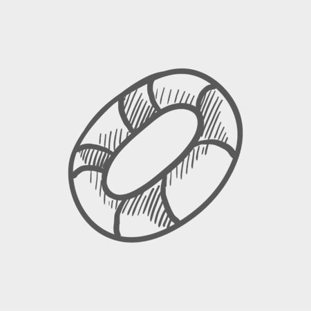 preserver: Life preserver sketch icon for web and mobile. Hand drawn vector dark grey icon on light grey background.