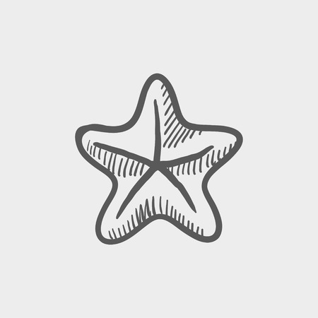 seafish: Starfish sketch icon for web and mobile. Hand drawn vector dark grey icon on light grey background. Illustration