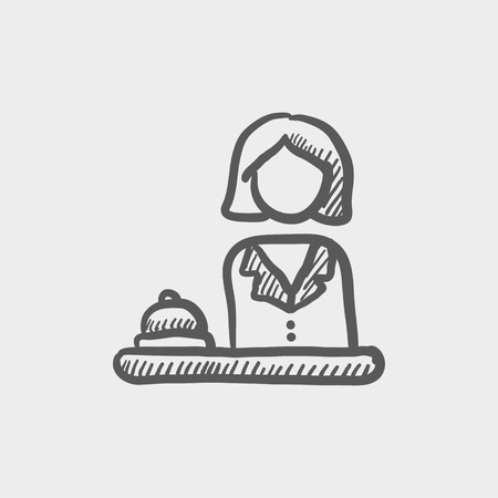 femal: Femal receptionist sketch icon for web and mobile. Hand drawn vector dark grey icon on light grey background. Illustration