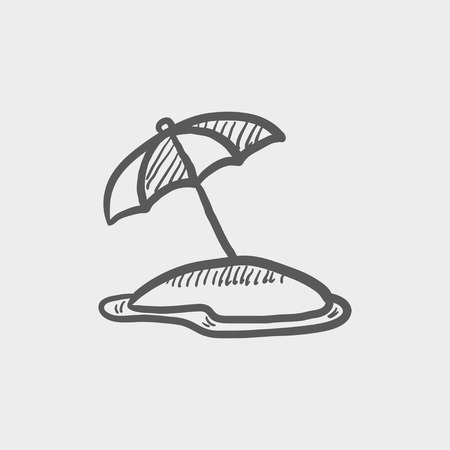 Beach umbrella sketch icon for web and mobile. Hand drawn vector dark grey icon on light grey background.
