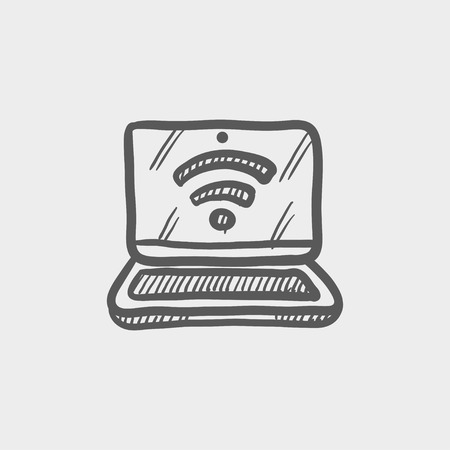wireless signal: Laptop with internet wifi sketch icon for web and mobile. Hand drawn vector dark grey icon on light grey background. Illustration