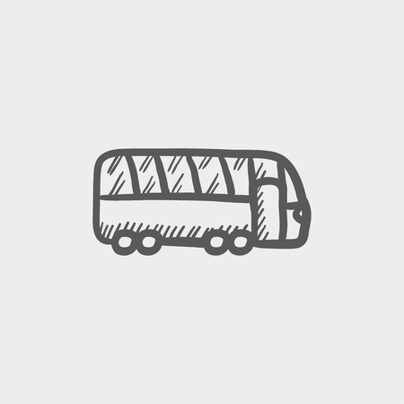 motor coach: Tourist bus sketch icon for web and mobile. Hand drawn vector dark grey icon on light grey background.