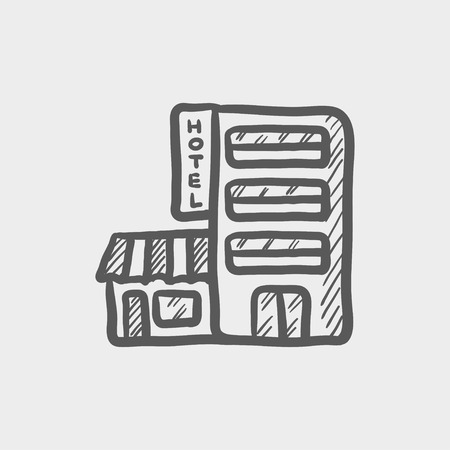 building sketch: Hotel building sketch icon for web and mobile. Hand drawn vector dark grey icon on light grey background.