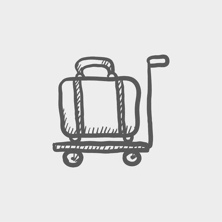 Luggage on a trolley sketch icon for web and mobile. Hand drawn vector dark grey icon on light grey background.