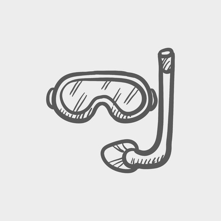 Snorkel and mask for diving sketch icon for web and mobile. Hand drawn vector dark grey icon on light grey background.
