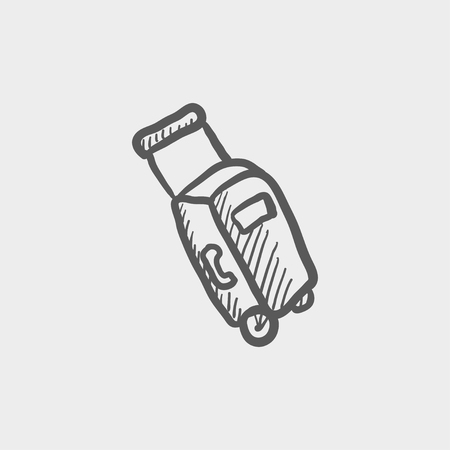 luggage carrier: Luggage carrier sketch icon for web and mobile. Hand drawn vector dark grey icon on light grey background.