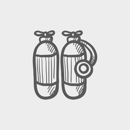 compressed air: Oxygen tank sketch icon for web and mobile. Hand drawn vector dark grey icon on light grey background.