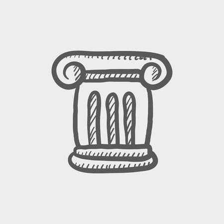 Ancient wall sketch icon for web and mobile. Hand drawn vector dark grey icon on light grey background. Illusztráció