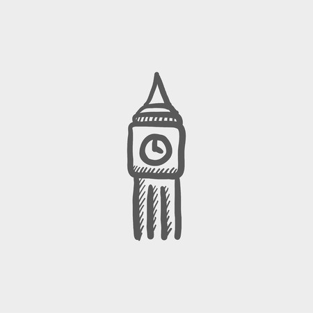 english culture: Big ben clock sketch icon for web and mobile. Hand drawn vector dark grey icon on light grey background.