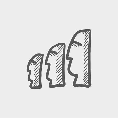med: Easter island statues sketch icon for web and mobile. Hand drawn vector dark grey icon on light grey background. Illustration