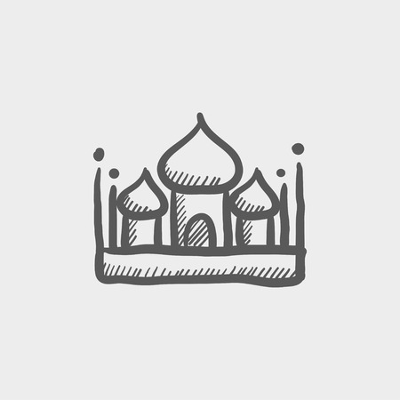 Islamic mosque sketch icon for web and mobile. Hand drawn vector dark grey icon on light grey background.