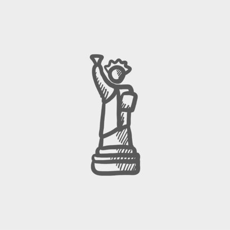 Statue of liberty sketch icon for web and mobile. Hand drawn vector dark grey icon on light grey background. 矢量图像