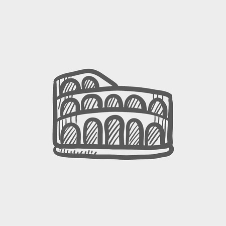 amphitheater: Coliseum sketch icon for web and mobile. Hand drawn vector dark grey icon on light grey background.