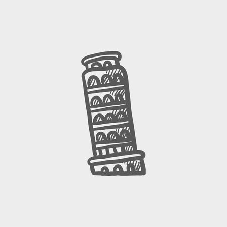 siena italy: Leaning tower of pisa sketch icon for web and mobile. Hand drawn vector dark grey icon on light grey background.