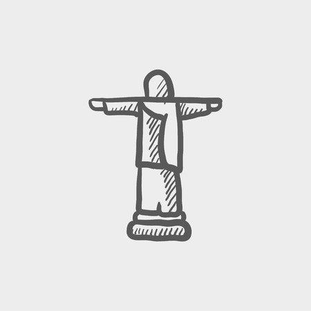 redeemer: Christ the redeemer sketch icon for web and mobile. Hand drawn vector dark grey icon on light grey background.
