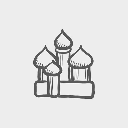 Saint basil cathedral sketch icon for web and mobile. Hand drawn vector dark grey icon on light grey background.